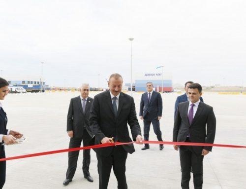 Президент Ильхам Алиев принял участие в открытии Абшеронского логистического центра