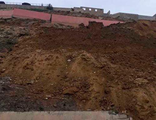 Образовались трещины на подпорной стене в зоне оползня в Бадамдаре